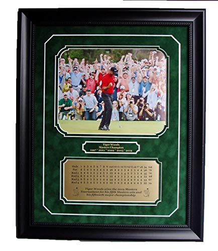 (GFSF Tiger Woods 2019 Masters Champion 8x10 After Final Putt Professionally Framed and Double matted with Engraved scorecard)