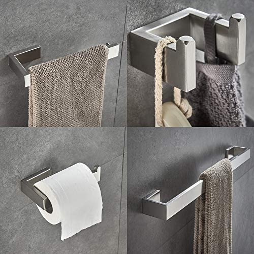 (JunSun 4-Piece Bathroom Accessory Set (Towel Bar Toilet Paper Holder Robe Hook Towel Holder), Contemporary Bathroom Hardware Accessories Sets Wall Mounted - SUS304 Stainless Steel, Brushed Nickel)