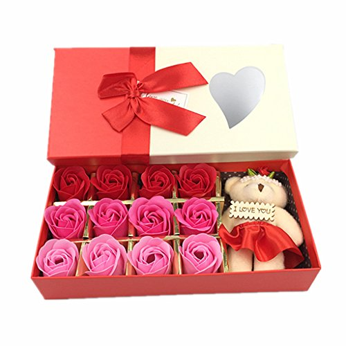 Kinteshun Bath Soap Rose Flower,Flora Scented Rose Petal Bouquet Gift Box I Love You Little Bear Doll(12pcs Rose,Gradually Varied Red) (Soap Scented Bath)
