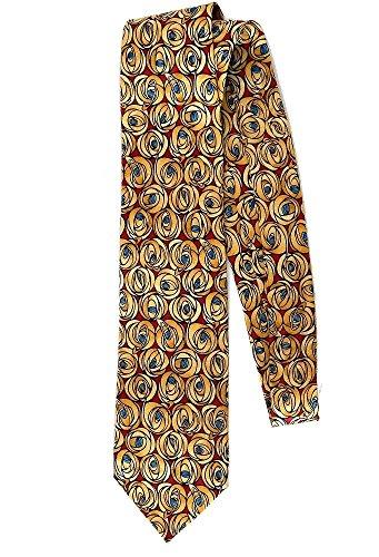 Boxelder Men's Silk Tie - Charles Rennie Mackintosh Roses -Gold and - Mackintosh Tie