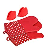 Silicone Oven Mitts For Cooking,Heat Resistant Lined And Insulated Barbecue Gloves Extra Long
