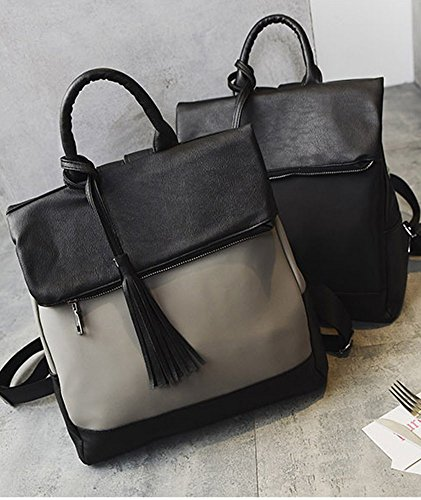 Black Fringe Simple Casual Fashion Pu Rrock Bag Nylon Bag Backpack Black Bag Female vwXnqx6BSP