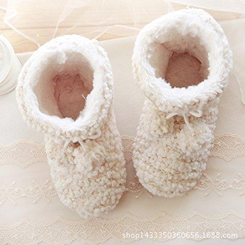 HH Strabisme chausson d'agneau peu épaissi ajouter pantoufles en peluche maison chaud chaussures haricot anti-dérapant chaussure en peluche