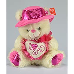 Valentines Day Plush Musical Teddy Bear with Pink Hat and Pink Heart - Ivory Bear, 12 Inches