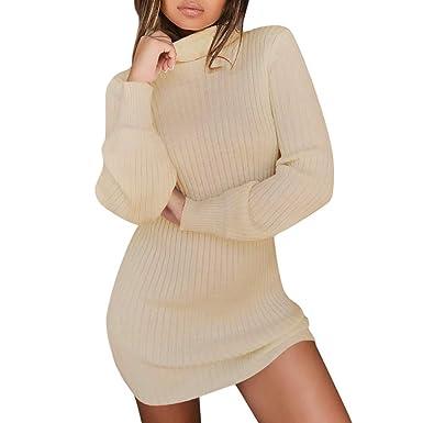 Rosennie Damen Kurz Strickkleid Herbst Winter Pullover Kleid Strickpulli  Rollkragen Lose Sweater Lang Oberteile Jumper Sweaters 150b9e172a