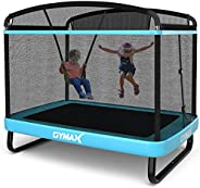 GYMAX 6FT Kids Trampoline with Swing, ASTM Approved Recreational Trampoline with Enclosure Safety Net, Indoor/