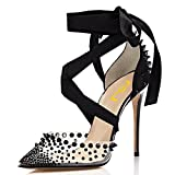 FSJ Women High Heel Ankle Strap Sandals Pointed Toe Rivets Pumps PVC Club Shoes with Studs Size 6 Black