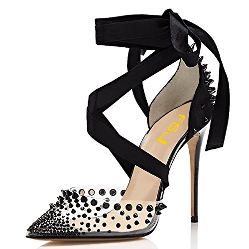 15 Heel Strap Black Toe Ankle 4 Women with Studs High Pointed PVC FSJ US Pumps Sandals Shoes Rivets Club Size 1wpqfIC
