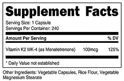 Nutricost Vitamin K2 (MK4) 240 Capsules (100mcg) - Gluten Free and Non-GMO