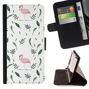 For Samsung Galaxy S3 III i9300 i747 Case , Flamingo Pink Hojas minimalista Blanco Verde- la tarjeta de Crédito Slots PU Funda de cuero Monedero caso cubierta de piel