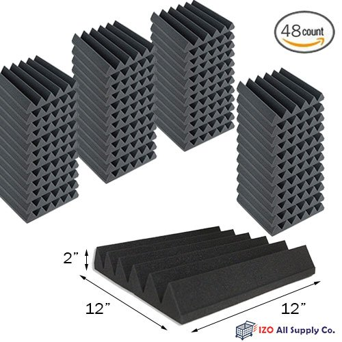 (48 Pk) 2''x12''x12'' Soundproofing Foam Acoustic Tiles Studio Foam Sound Wedges by IZO All Supply