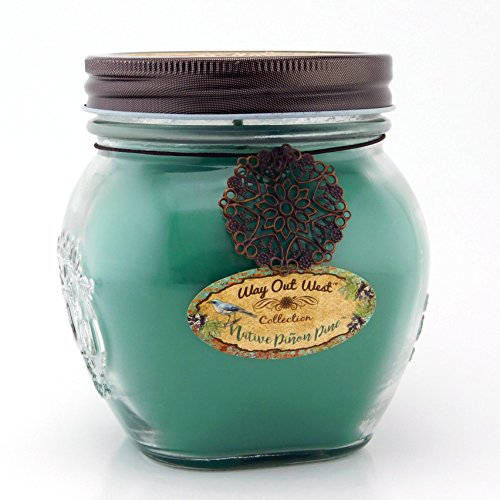 Way Out West Candles Scented With Native Pinon Pine / Pinyon - Large 17 oz Jar Candle- Southwestern Style -Long Lasting, Soy Wax Blend - A Favorite Gift for Cedar, Balsam, Frasier Fir & Nature Lovers!