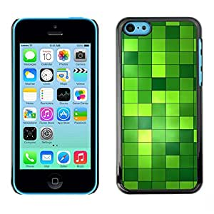 Plastic Shell Protective Case Cover || iPhone 5C || Pattern Checkered Green Bright Bling @XPTECH