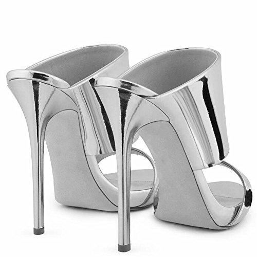 Silver L Lujo YC Zapatillas De De Mujeres Brillante CóModa Boda Oficina Zapatos Boda De Vestido TacóN Cool alto 8TR8U