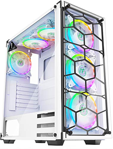 MUSETEX - ATX Mid-Tower PC Gaming Case - 6pcs 120mm Fans Digital ARGB Lighting - 2 Tempered Glass Panels USB3.0 - White Frame - Computer Chassis Desktop Case(907W6W)