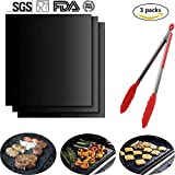 Grill Mat - Set of 3 Non Stick BBQ Grill Mats - Grill Mats with a Silicone Tongs - Heavy Duty ,Reusable and Dishwasher safe - Easy Clean & Easy Use on Gas, Charcoal, Electric Grill(15.75 x 13 Inch)
