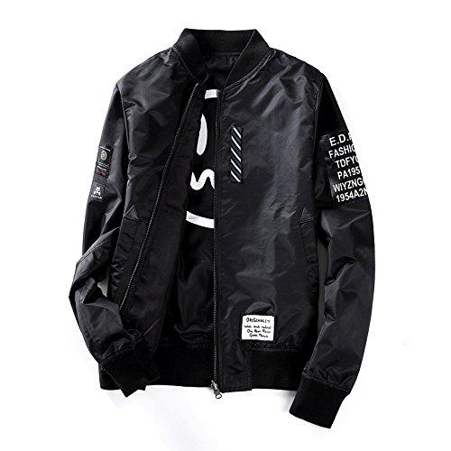Mens Pilot Jacket Two Sides Wear Letter Printed Thin Bomber Windbreaker Jacket Black