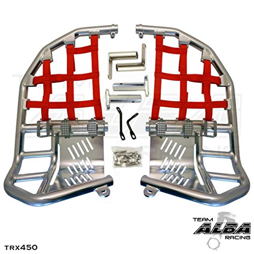 TRX 450R (2004-2009) Propeg Nerf Bars - Compatible with Honda - Silver Bars w/Red Net