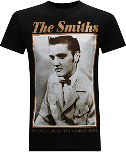 Black Elvis Classic T-shirt - The Smiths Classic Rock Band Men's T-Shirt - (Shoplifters of The World Unite) - L