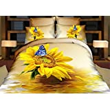TheFit Paisley Bedding for Adult T124 Sunflower Duvet Cover Set 100% Cotton, Queen King Set, 4 Pieces (King)