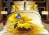 TheFit Paisley Bedding for Adult T124 Sunflower Duvet Cover Set 100% Cotton, Queen