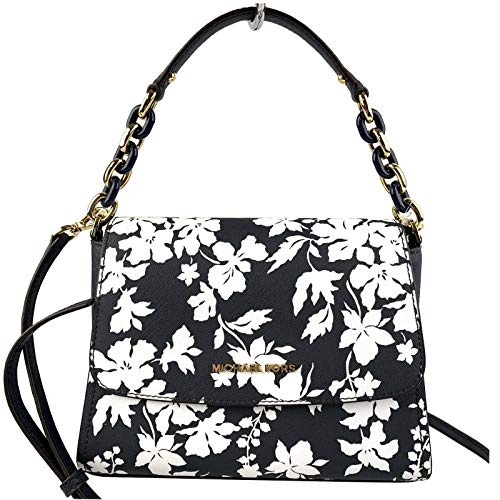 Floral Leather Shoe Bag - Michael Kors Sofia Small East West Saffiano Leather Satchel Crossbody Bag in Navy/White Floral