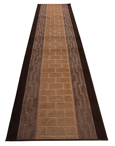 Design Gold Square Greek (RugStylesOnline Custom Runner Brick and Greek Design Geometric Roll Runner 26 Inch Wide x Your Length Size Choice Slip Skid Resistant Rubber Back 2 Color Options Euro Collection (Brown, 8 ft x 26 in))