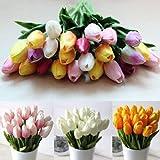 CYNDIE Wedding Flower 12 24pcs Home Wedding Decor PU Tulip Latex Touch Artificial Flower Single Stem (12pcs, Mixed-color)