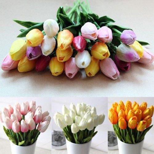 (CYNDIE Wedding Flower 12 24pcs Home Wedding Decor PU Tulip Latex Touch Artificial Flower Single Stem (12pcs, Mixed-color))