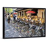"""David R. Frazier Floating Frame Premium Canvas with Black Frame Wall Art Print Entitled A Rack of Rental Bicycles are Part of The Velib, a Bike Transit System in Paris, France 48""""x32"""""""