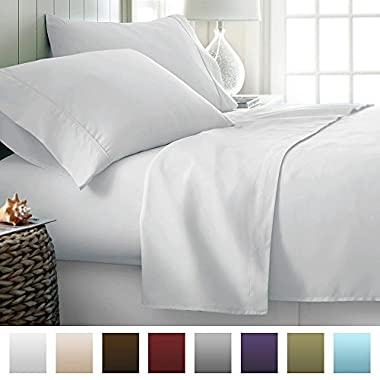 ienjoy Home Beckham Luxury Soft Brushed Bed Sheet Set, Hypoallergenic, Deep Pocket, Queen, White
