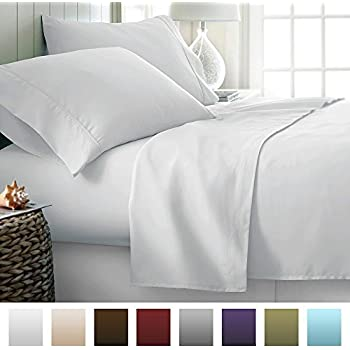 beckham hotel collection luxury soft brushed microfiber 4 piece bed sheet set deep pocket king white - Comphy Sheets