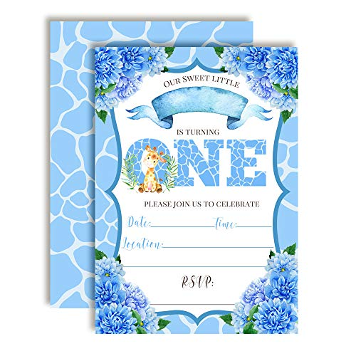 - Watercolor Dahlia Floral Cute Giraffe First Birthday Party Invitations for Boys, 20 5
