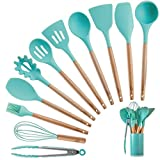 Silicone Kitchen Cooking Utensils Set with Wooden Bamboo Handles (11 Piece) | BONUS Cup | Durable Cookware Tools | BPA-Free, Non-Stick Safe, Non-Toxic | Include Tongs, Spatula, Turner, Ladle and More