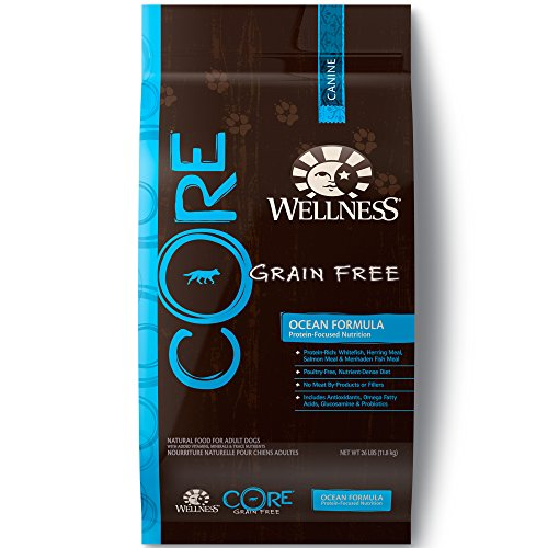 (Wellness Core Natural Grain-Free Dry Dog Food, Ocean Whitefish, Herring & Salmon, 26-Pound Bag)