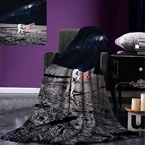 Anniutwo Outer Space Queen Flannel Blanket Moon Astronaut on
