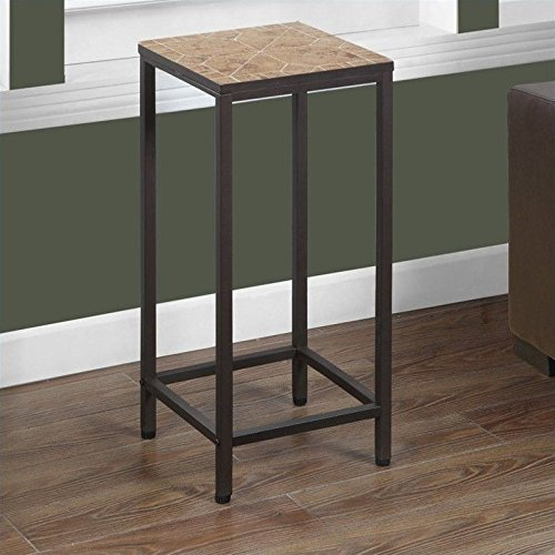 Monarch Specialties Terracotta Tile Top/Hammered Brown Plant Stand,