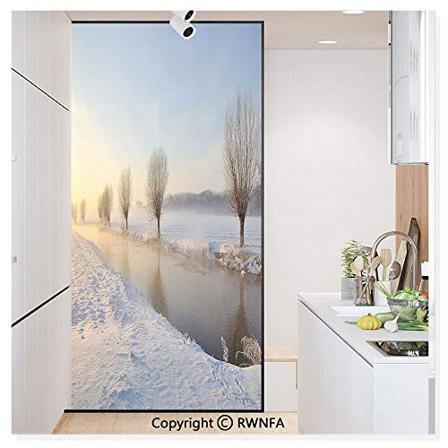 Window Glass Sticker Door Mural Snowy River Landscape Barren and Frosted Trees Dutch Netherlands Europe Photograph Static Cling Privacy No Glue Film Home Decorative 11.8x59.8inch,