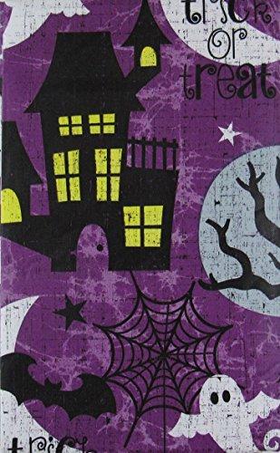 Haunted House Spooky Ensemble Vinyl Flannel Back Tablecloth