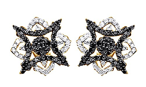 14K Solid Gold Round Black & White Natural Diamond Hip Hop Star Stud Earrings (0.55 Cttw) Diamond Solid 14k Gold Stud