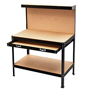 Finether Heavy Duty Steel Workbench Tool Table Multi Purpose Work Table With 3