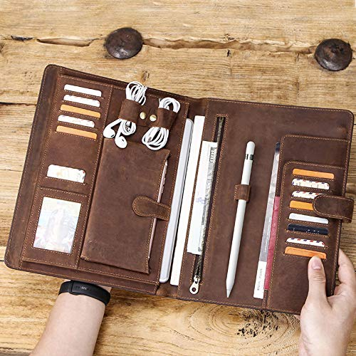 Vintage Crazy-Horse Leather Portfolio for 10.2-inch /10.5-inch iPad, Handmade Padfolio with A4 Size Notepad Holder, Business Carrying Case for Men Women from Mfnyp