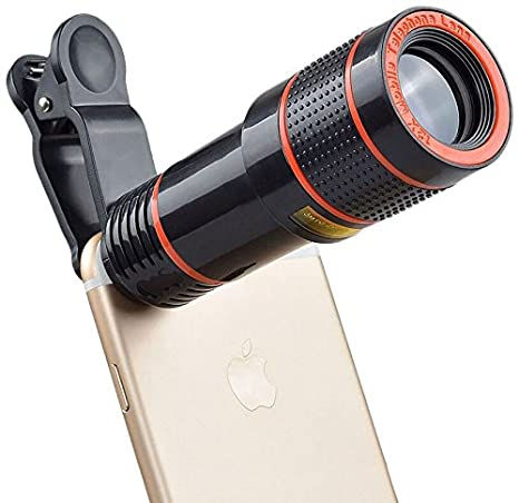 Godefa Cell Phone Camera Lens 12x Zoom Telephoto Universal Clip On Lens Kit For Iphone 7 6s 6 Plus 5 4 Samsung Android And Other Phones
