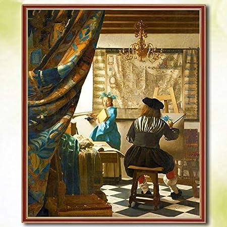 5D DIY Diamante Pintura famosa Cuadrado completo Jan Vermeer Bordado Pintura Venta Diamante Mosaico Imagen de diamantes de imitación