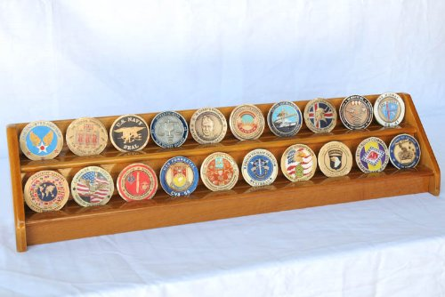 2 Rows Challenge Coin Casino Chip Display Rack Holder Stand (Oak Challenge Coin)