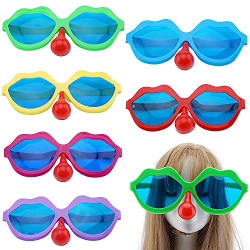 6PCS Jumbo Sunglasses with Clown Nose, Novelty Colorful