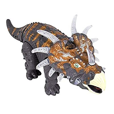 FanBell Walking Triceratops Dinosaur Toy Figure with Multicolor Lights & Loud Roar Sounds for for Boys and Girls Over 3 Years Old,Real Movement: Toys & Games
