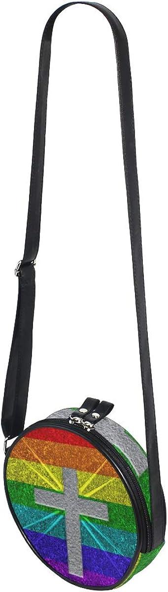 KEAKIA Rainbow Cross Round Crossbody Bag Shoulder Sling Bag Handbag Purse Satchel Shoulder Bag for Kids Women