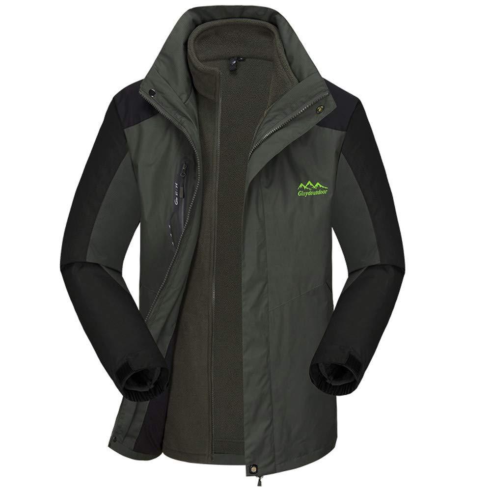 DBolomm メンズ 秋冬用コート 3-in-1 メンズ ハイキング 暖かい 防水 スキージャケット フード付き レインコート B07JZD8K6Y X-Large|グレー グレー X-Large