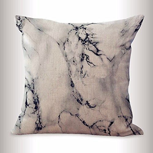 Acelive 18 x 18 inches Valentine's Day Popular Presents Chic Elegant White and Black Marble Print Pattern Cotton Throw Pillow Case Square Cushion Cover for Home Sofa Bedroom Couch Car
